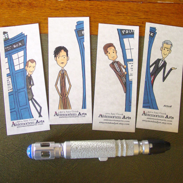 Hand Drawn Doctor Who Bookmarks