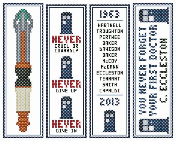 Cross Stitched Retro Bookmark Pattern